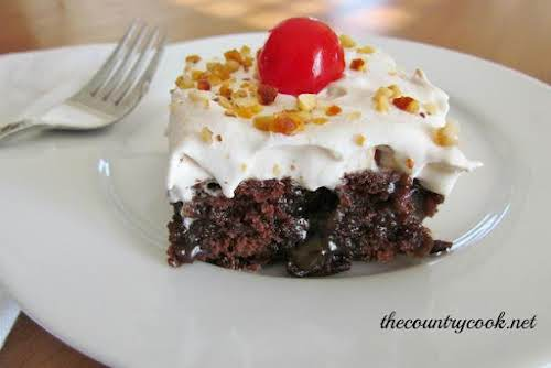 "Caramel Brownie Cake ""It's part brownie, part cake, part caramel and all..."