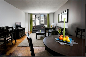 Living area at Midtown West apartment