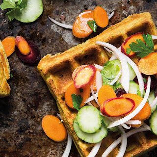 Falafel Waffles with Armenian Cucumber Slaw.