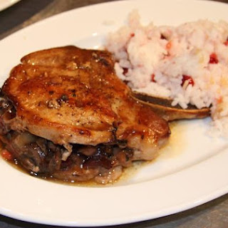 Pork Chops With Dried Cranberries, Mushrooms and Chestnut Stuffing.