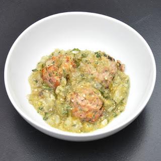 Pork Polpettine with Tomatillo Marinara Sauce.