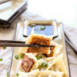 Pork Pot Stickers with Sesame Soy Dipping Sauce.