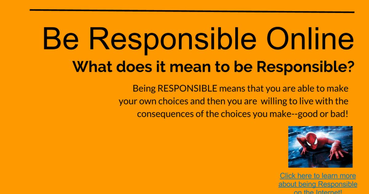 being responsible online google slides