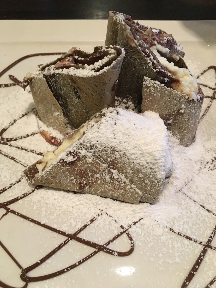 Gluten free crepe with Nutella and ricotta.