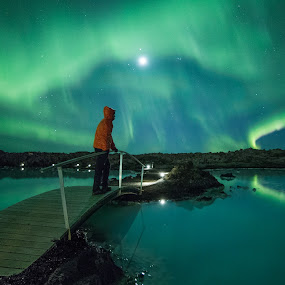 Fire in the Sky by Sigurður Brynjarsson - Landscapes Starscapes ( water, lagoon, aurora, nightscape, lights, northern, amazing, iceland, borealis, blue, stand, bridge, reflect, man )