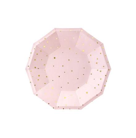 Assietter - Ljusrosa med guldstjärnor