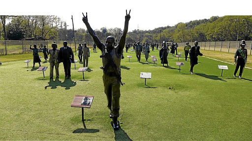 Adam Madebe's bronze of hanged activist Solomon Mahlangu is at the forefront of the procession of sculptures known as 'The Long March To Freedom'.