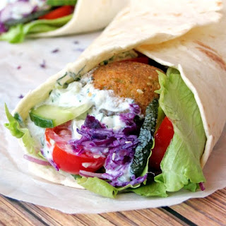 Falafel Wrap with Tzatziki Sauce.