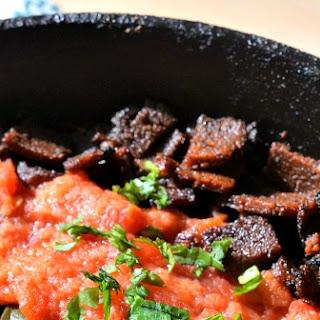 Smokey Pinto Bean Bowls w/ Easy Stewed Tomatoes, Swiss Chard, and Cornbread.