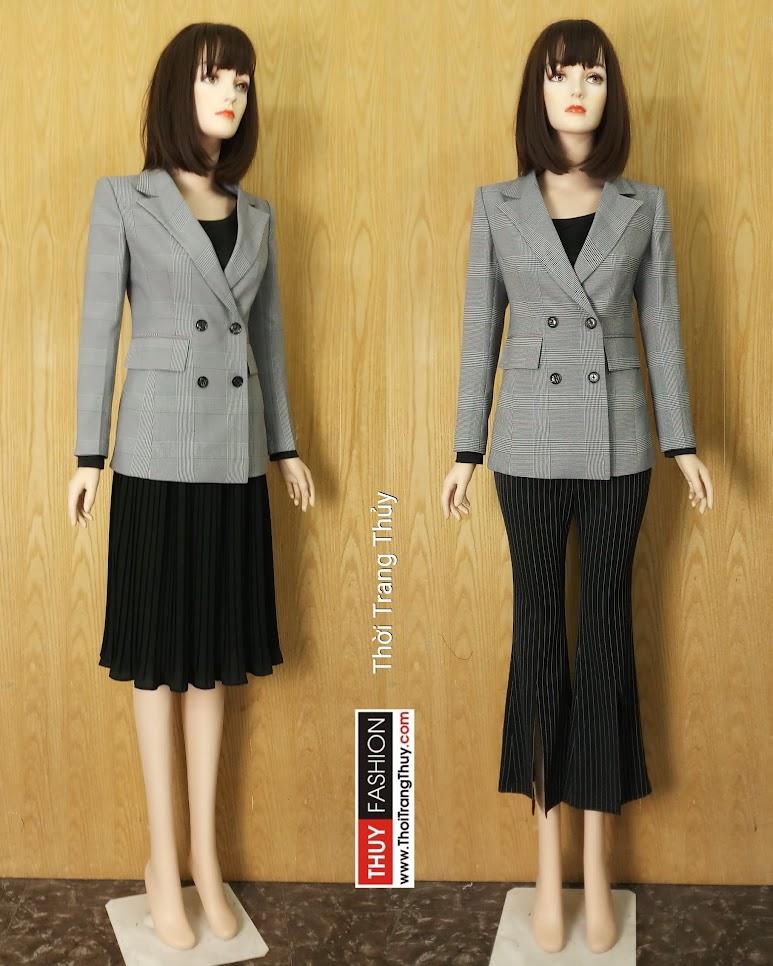 Áo blazer nữ dáng dài kẻ caro V630 Thời Trang Thủy