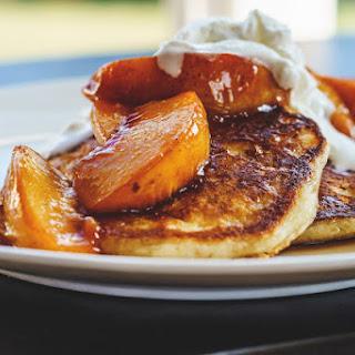 Buttermilk Pancakes & Maple Caramelized Peaches
