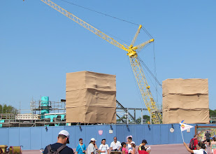 Photo: Work is moving along fast at the New Fantasyland Walls. Still impressed at the scale of the walls