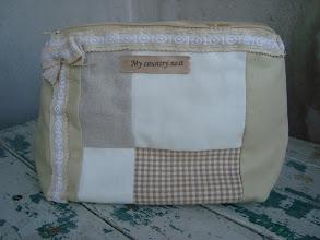 Photo: pochette patchwork bianco beige