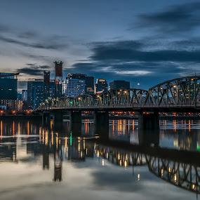 PDX with Hawthorne Bridge by Ivan Johnson - City,  Street & Park  Skylines (  )