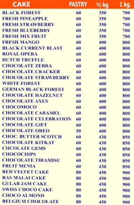 Festive The Cake Shop menu 1