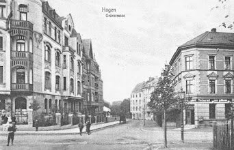 Photo: Ansichtskarte gebraucht anno 1909: Kreuzung Buscheystraße in Richtung Friedhof