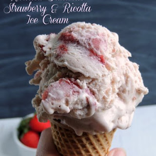 Roasted Balsamic Strawberry & Ricotta Ice Cream