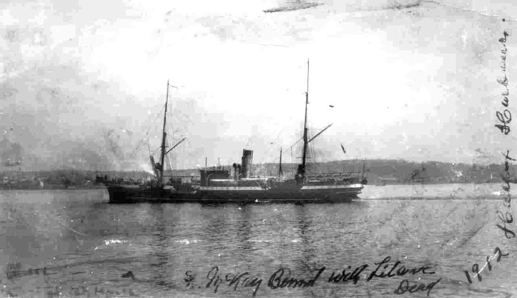 With flags at half mast and coffins stacked on the stern, Mackay-Bennett arrived in Halifax to the tolling of church bells on April 30, 1912 after the Titanic's sinking.