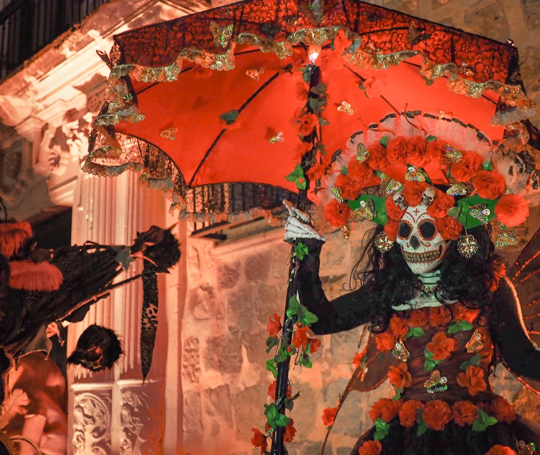 Flower-adorned skeleton on stilts