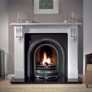 a beautifully designed fireplace