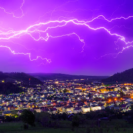Lightning town by Robert Ungurianu - Digital Art Places ( lightning, storm, town, landscape, night photography )