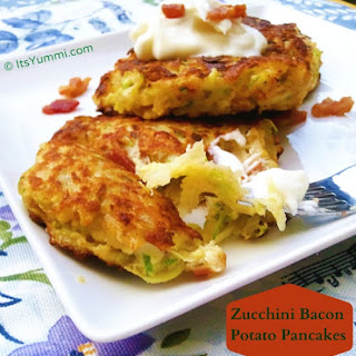 Zucchini Bacon and Potato Pancakes