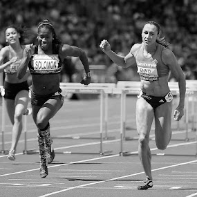 On the Line (mono) by Ron Russell - Black & White Sports ( hurdles, athletics, racing, sport, winning., running )