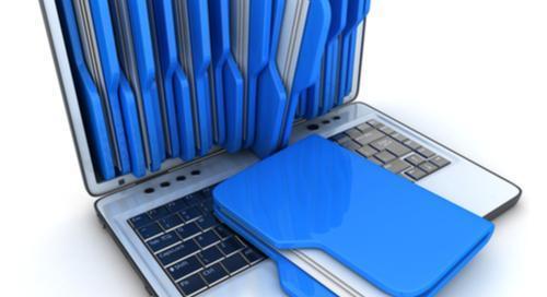 Laptop with blue file folders in it