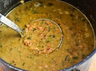 Hopping John Soup - Black-eyed Pea, Ham, and Collard Green Soup