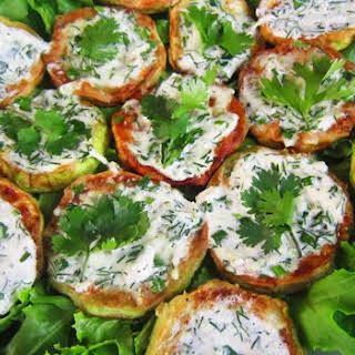 Fried Vegetable Marrows under a Lemon Garlic Cream Sauce.