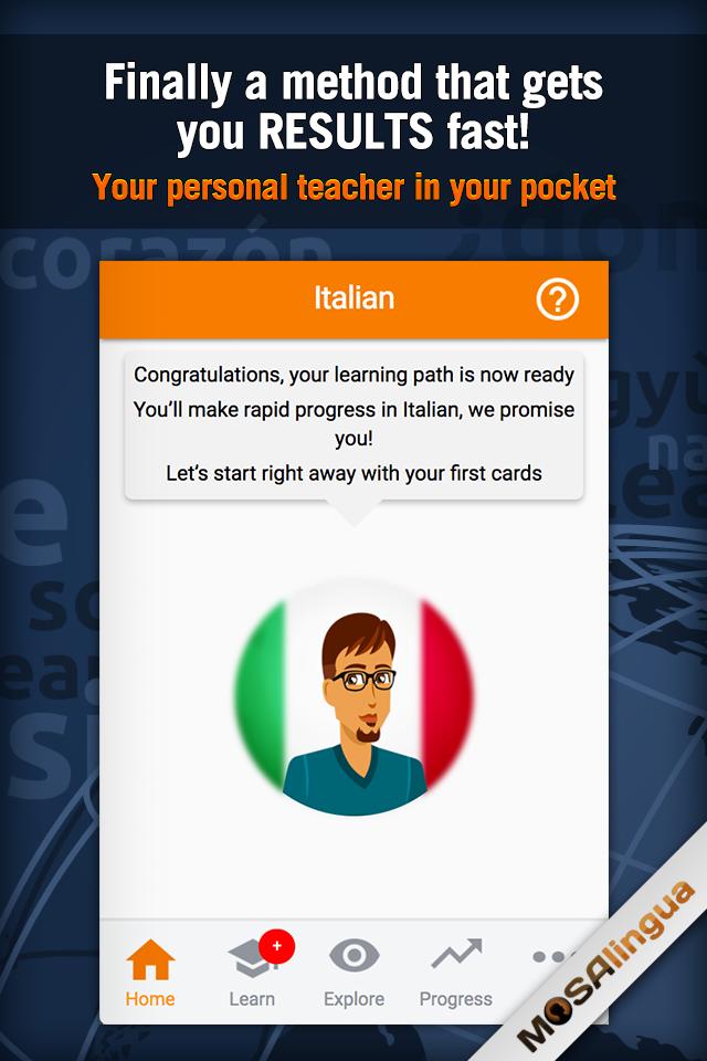 Learn Italian with MosaLingua Screenshot 0