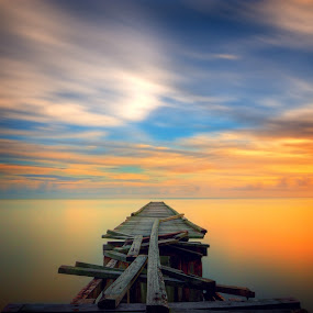 Abandoned Jetty by Izham Khalid - Landscapes Waterscapes ( sunset, penang, long exposure, jetty, abandoned )