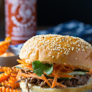 Pulled Beef Sandwiches with Sriracha Mayo.
