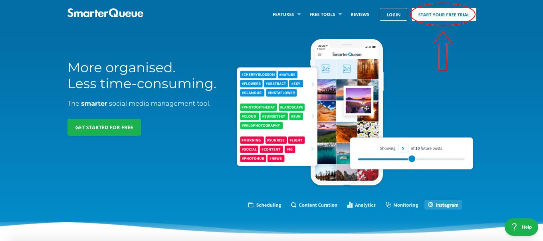 SmarterQueue homepage