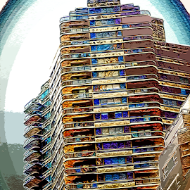 Windows and Balconies by Edward Gold - Digital Art Things ( artistic objects, digital photography, balconies, skyscraper, windows, apartment house, colorful, digital art,  )