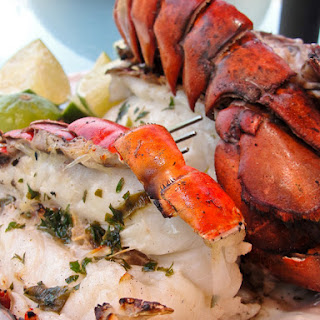 Grilled Lobster with Cilantro Butter.