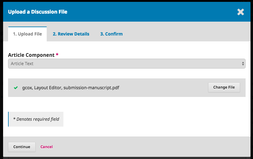 Step 1 of uploading galley file in discussion- uploading file.