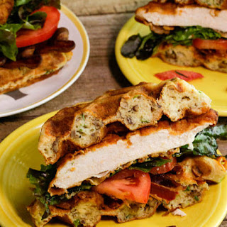 Spicy Chicken and Cheddar Waffle Sandwiches.