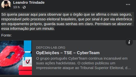 notícia sobre hack do TSE