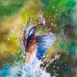 Catches fish by Alfonso Rahardja - Painting All Painting ( painting, kingisher, catches fish, bird painting, inktense )