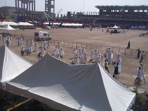 Photo: At the main Bowl of the Tafawa Balewa square where all the Eyo groups met for the grand parade