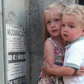 Hiding  by Steve Weston - Instagram & Mobile iPhone ( girl, hug, children, cute, cuddle, boy )