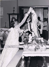 Photo: 1960 May Procession Crowning_Carol Savoy-May Queen with Fr. Joseph Miller_St Cyprian Parish