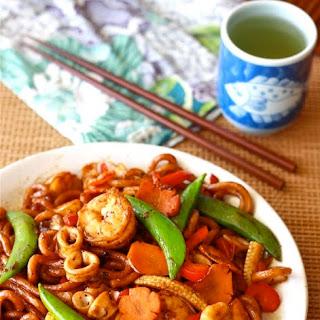 Stir-Fried Black Pepper Udon Noodles.
