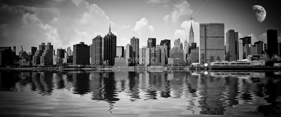 New York B&W skyline by Amador  Esquiu - City,  Street & Park  Skylines ( water, moon, amador esquiu, amadoresquiu, manhattan, new york, nyc, ny, usa, nueva york, black and white, b and w, landscape, b&w, monotone, mono-tone, , garyfonglandscapes, holiday photo contest, photocontest )