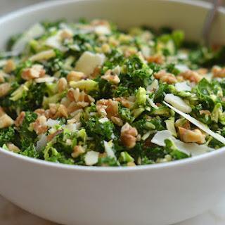 Kale & Brussels Sprout Salad with Walnuts, Parmesan & Lemon-Mustard Dressing.