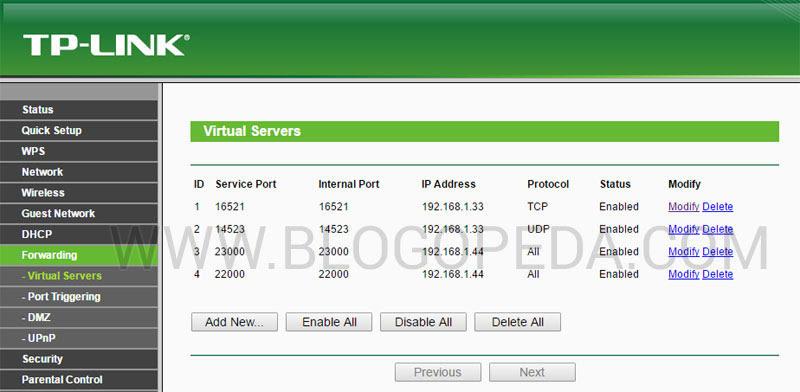 abrir puertos en un router TP-LINK TL-WR841N