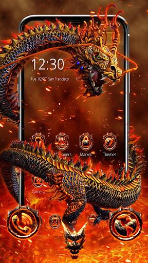 Red Yellow Fire Dragon Theme screenshots 2