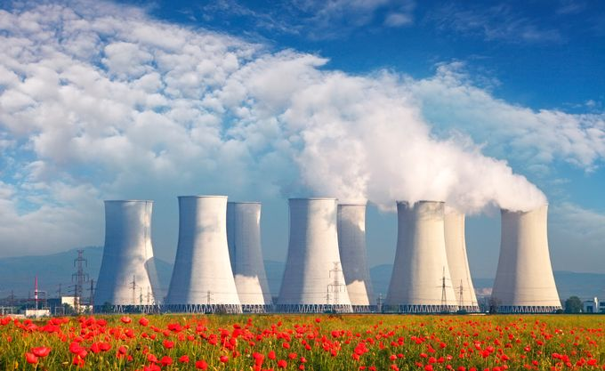 Nuclear power plant and field of flowers. Picture: ISTOCK
