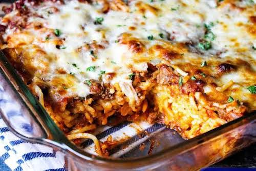 """Baked Cream Cheese Spaghetti """"I made this and every member of my..."""